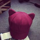 Cat Ears Girls Female Solid Plain Woolen Felt Beret Warm Cap Hats B