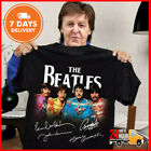 The Beatles T Shirt All Members Signatures Shirt Black Cotton Tee New Full Size image