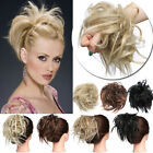 Tousled Updo Messy Ponytail Bun Elastic Band Wrap On Hair Piece Straight Wavy US