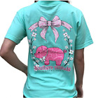 Southern Attitude Pig Sea Foam Green Cute Animal Short Sleeve Shirt S M L XL
