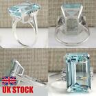 925 Sterling Silver Aquamarine Gemstone Ring Women Wedding Jewelry Gifts Sz5-11