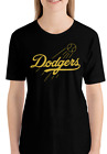 Los Angeles Dodgers BLACK T-Shirt GOLD Graphic Cotton Men Adult Logo Jersey LA on Ebay
