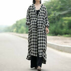 UK Womens Oversized Batwing Sleeve Check Plaid Long Tops Cardigans Coat Outwear