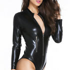 Solid PU Leather Bodysuit Long Sleeve Zipper Jumpsuits Playsuit Catsuit S - XL