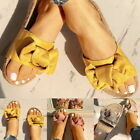 Womens Ladies Flat Sandals Front Bow Comfy Summer Casual Holiday Shoes Size HA