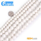Natural White Shell Gemstone Flower Carved Loose Beads For Jewelry Making 15""