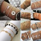 Fashion Charm Women Jewelry Set Stainless Steel Cuff Bracelets Bangle Chain Gift