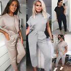 Womens 2Pcs Short Sleeve Tops Pants Summer Casual Tracksuit Drawstring Jumpsuit