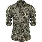 Men Turn Down Collar Long Sleeve Paisley Printed Shirt B98B 03