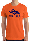 Denver Broncos Orange T-Shirt NAVY Graphic Cotton Adult Logo  S-2XL $11.99 USD on eBay