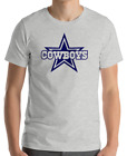 DALLAS COWBOYS Gray T-shirt  Navy Graphic Cotton Adult Logo S-2XL on eBay