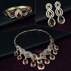 4pcs/set Golden Crystal Bridal Jewelry Sets Necklace Earrings Bangle Ring Set Ev