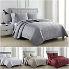 Chezmoi Collection 3-Piece Matte Satin Geometric Quilted Bedspread Coverlet Set image