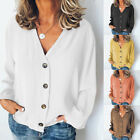 Women Summer Color Pure Shirts Casual Button Down  Long Sleeve Blouses Tops