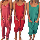 Womens Ladies Baggy Cami Strappy Color Pure  Playsuit Jumpsuit Wide Leg Rompes