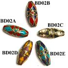 Bicone Bead Turquoise Coral Lapis Brass Spacer Charm Ethnic Tribal Nepal BD02