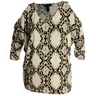 INC 2x 3x Snake Print 3/4 Sleeve Cold Shoulder Top NWT FREE SHIPPING Plus Size