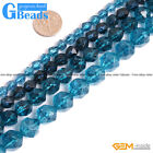 6-12mm Dyed Blue Kyanite Crystal Quartz Faceted Polygonal Bead Free Shipping 15""