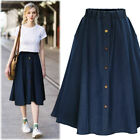 Womens Jeans A-line High Waist Long Midi Denim Flare Party Skater Skirt Dress