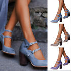 Women Chunky Heel Snadals Summer Casual Pointed Toe Ankle Strap Beach Shoes Size