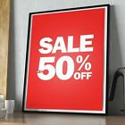 RED SALE POSTERS - WINDOW SIGN BANNER - SALE UP TO 50% OFF SIGN **LAMINATED**