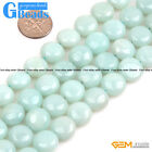 """Natural Amazonite Gemstone Coin Beads For Jewelry Making Free Shipping 15"""" GB"""