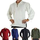 Men's Renaissance Peasant Pirate Shirt  Medieval Lace Up Tops Cosplay Costume