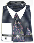 Avanti Uomo 100% Cotton Pencil Stripe Dress Shirt,Tie,Hanky,Cufflinks DN84M <br/> White/Black,Navy/White