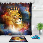 Lion King With Crown In Cosmic Space Shower Curtain Set Bathroom Mat Waterproof