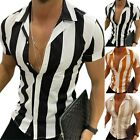 Men Striped Slim Fit Muscle Tee Shirts Short Sleeve Summer Casual Tops T Shirt image