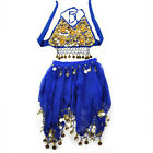 2 PCS TopTie Kid Belly Dance Set Halter Top  Skirt Set Coin Flower Tribal Gypsy