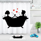 Couple In The Bathtub Shower Curtain Hooks Waterproof Polyester Bathroom Mat