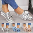 Women's Mid Heel  Bowknot Slip On Platform Sneakers Loafers Casual Pumps Shoes
