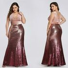 Ever-pretty US Plus Size Sexy Long Mermaid Sequins Gown Celebrity Party Dresses
