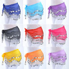 US Women Belly Dance Hip Skirt Scarf Wrap Belt Hipscarf with Gold/Silver Coins