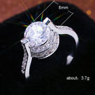 Dazzling Wedding Engagement White Topaz Silver Strange Ring Size 6 7 8 9 10