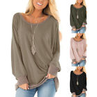 Autumn Womens Crew Neck Patchwork Pullover Tops Baggy Loose Long Sleeve Blouse