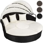 Alu Rattan Day Bed Garden Furniture Outdoor Lounger Sofa Sun Roof Table New