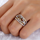 Fashion Women Infinite CZ 925 Silver Gold Two Tone Ring Wedding Party Jewelry image