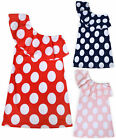 Girls Polka Dot Dress Kids New One Shoulder Summer Party Dresses Age 3- 12 Years
