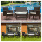 4pcs Rattan Garden Furniture Sofa Table Chair Set Outdoor Cushioned Wicker New