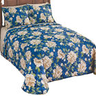 Marisol Navy Blue & Ivory Floral Quilted Bedspread Cotton/Poly Coverlet image