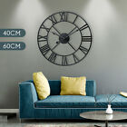 Large Roman Numeral Round Wall Clock Metal Indoor Outdoor Vintage Home Decor NEW