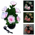 Color Changing Peony Flower Potted Fiber Optic Lamp Home Party Wedding Decor LED
