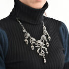 Skull Cross Bones Silver Effect Gothic Long Chain Necklace Costume Jewellery Cl