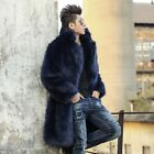 Mens Faux Mink Fur Coat Loose Fit Parka Winter Overcoat Thick Warm Outerwear New