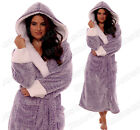 **NEW** LADIES LUXURY SHIMMER FLEECE SOFT & COSY HOODED DRESSING GOWN ROBE