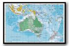 Australasia Wall Chart Map Framed Cork Pin Board With Pins