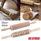 Kyпить Christmas Wooden Rolling Pin 3D Carved Embossing Roller for DIY Cookies Biscuit на еВаy.соm