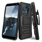 For LG K40/Xpression Plus 2/Solo Rugged Case Belt Clip Holster +Tempered Glass